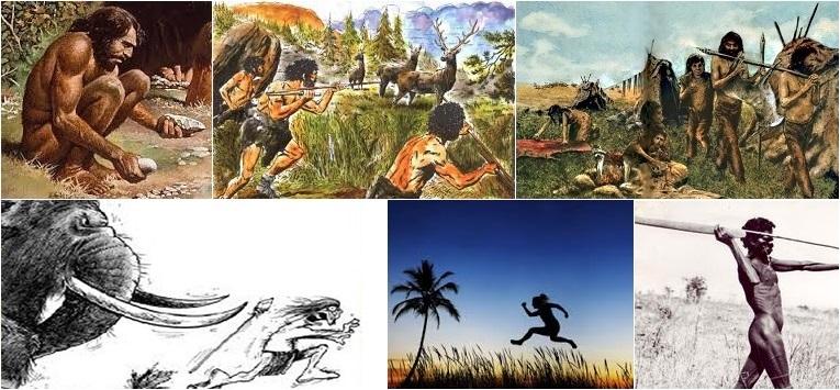 Las principales actividades físicas durante el Paleolítico incluían fabricación de herramientas, recorrer largas distancias para encontrar presas o recolectar, sprintar, saltar y arrojar para atrapar a la presa o evitar el peligro, caminar cargando la comida.